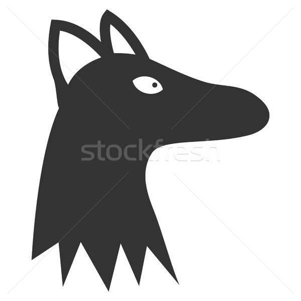 Fox голову вектора икона серый интерфейс Сток-фото © ahasoft
