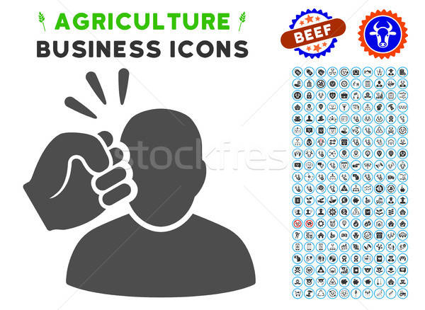 Crime Violation Fist Strike Icon with Agriculture Set Stock photo © ahasoft