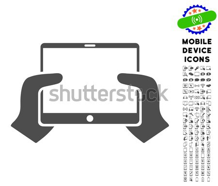 Hands Hold PDA Flat Raster Icon Stock photo © ahasoft
