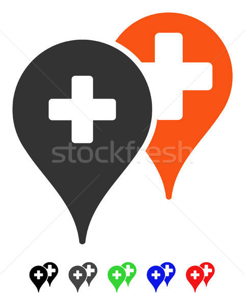Medical Map Markers Flat Icon Stock photo © ahasoft