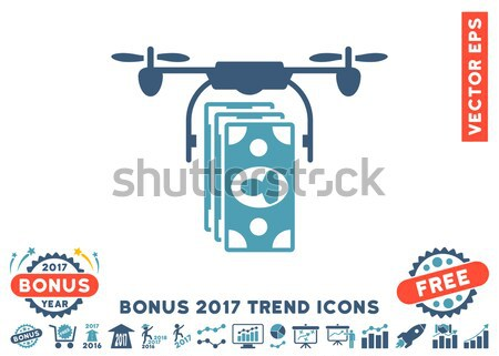Bitcoin Drone Delivery Flat Icon with Set Stock photo © ahasoft