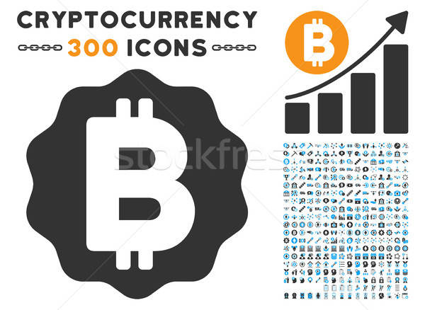 Bitcoin Medal Coin Flat Icon with Set Stock photo © ahasoft