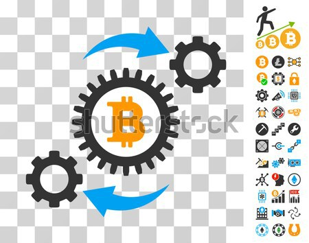 Bitcoin Pool Collaboration Flat Icon with Clip Art Stock photo © ahasoft