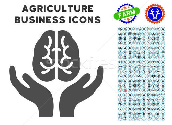 Beyin bakım eller ikon tarım ayarlamak Stok fotoğraf © ahasoft