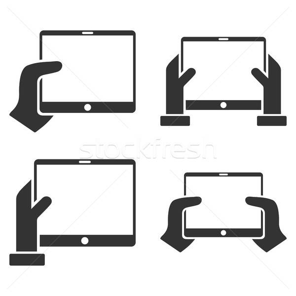 Hold Mobile Tab With Hands Vector Flat Icon Set Stock photo © ahasoft