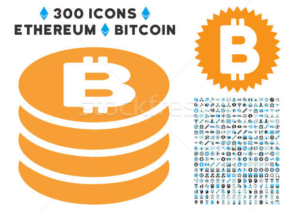 Bitcoin Coin Column Flat Icon with Collection Stock photo © ahasoft