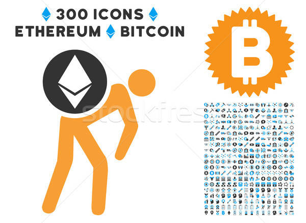 Ethereum Courier Person Flat Icon with Stock photo © ahasoft