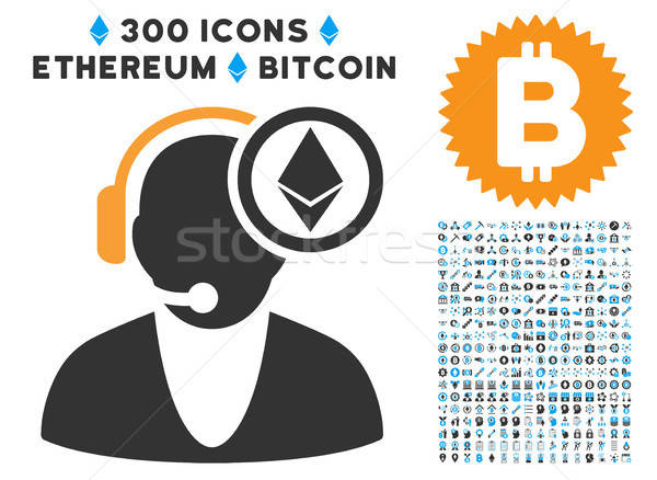 Ethereum Operator Flat Icon with Clip Art Stock photo © ahasoft
