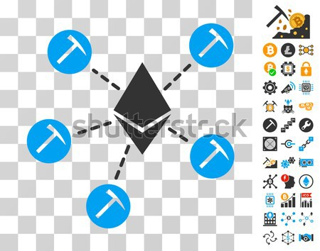 Ethereum Mining Pool Flat Icon with Set Stock photo © ahasoft