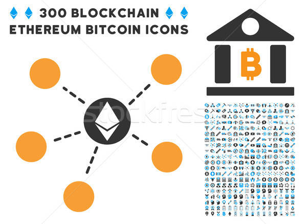 Ethereum Network Flat Icon with Set Stock photo © ahasoft
