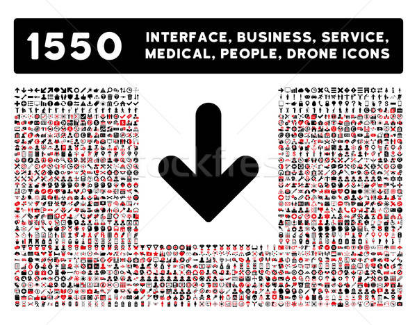 Stock photo: Arrow Down Icon and More Interface, Business, Tools, People, Medical, Awards Flat Vector Icons