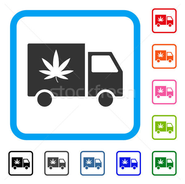 Cannabis Delivery Van Framed Icon Stock photo © ahasoft