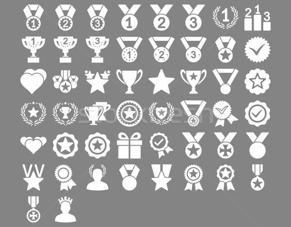 конкуренция иконки белый цвета вектора Сток-фото © ahasoft