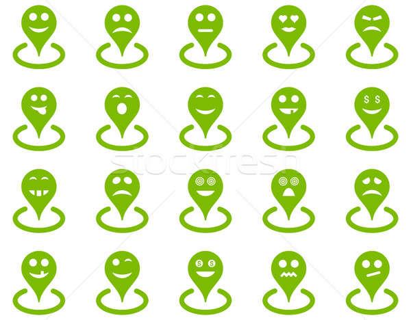 Ubicación iconos establecer estilo eco Foto stock © ahasoft