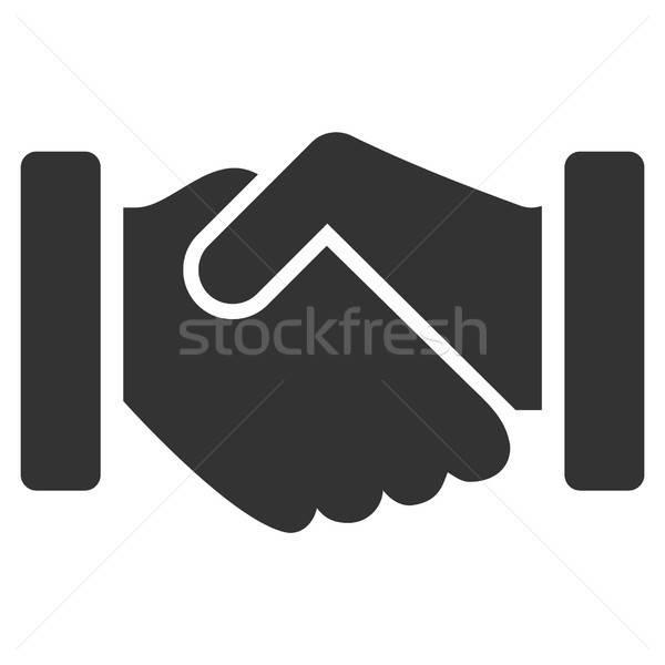 Megállapodás kézfogás vektor ikon szürke piktogram Stock fotó © ahasoft