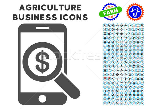 Mobile Audit Icon with Agriculture Set Stock photo © ahasoft