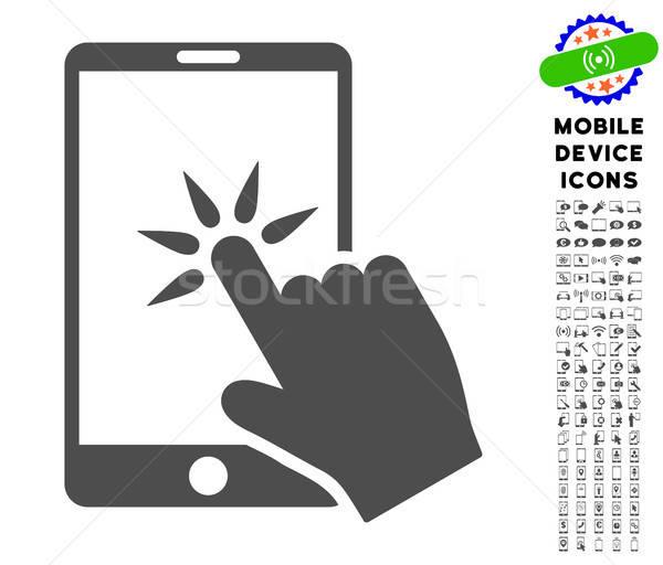 Mano clic icono móviles Foto stock © ahasoft