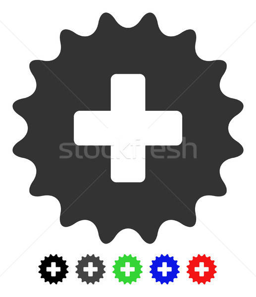 Stock photo: Plus Stamp Flat Icon