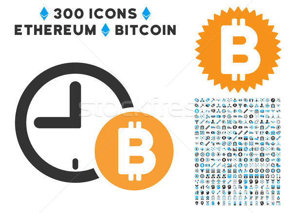Bitcoin Credit Clock Flat Icon with Collection Stock photo © ahasoft