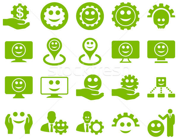 Tools, gears, smiles, map markers icons. Stock photo © ahasoft