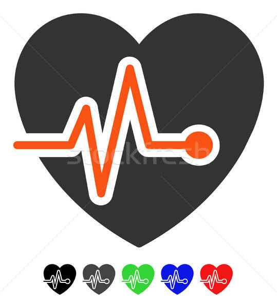 Heart Pulse Flat Icon Stock photo © ahasoft