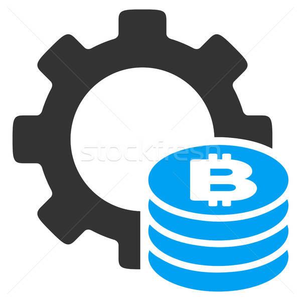 Stockfoto: Bitcoin · industrie · versnelling · icon · vector · pictogram