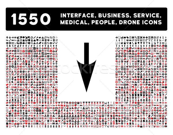 Sharp giù arrow icona più interfaccia Foto d'archivio © ahasoft