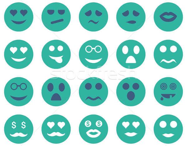 Gülümseme duygu simgeler ayarlamak stil Stok fotoğraf © ahasoft