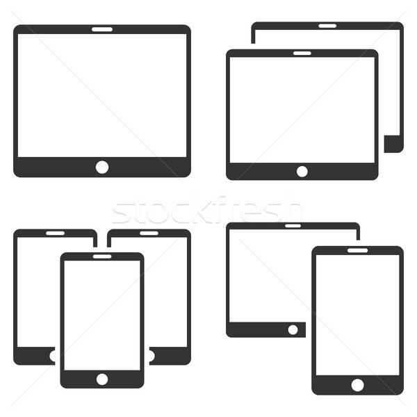 Photo stock: Mobiles · appareil · vecteur · ensemble · style