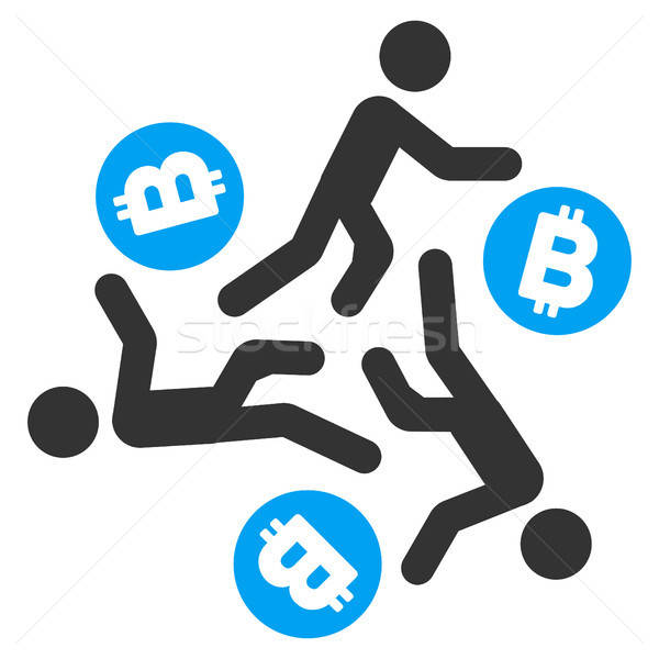 Running Persons For Bitcoin Flat Icon Stock photo © ahasoft