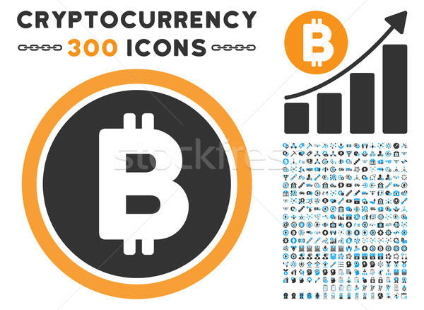 Bitcoin Coin Flat Icon with Set Stock photo © ahasoft