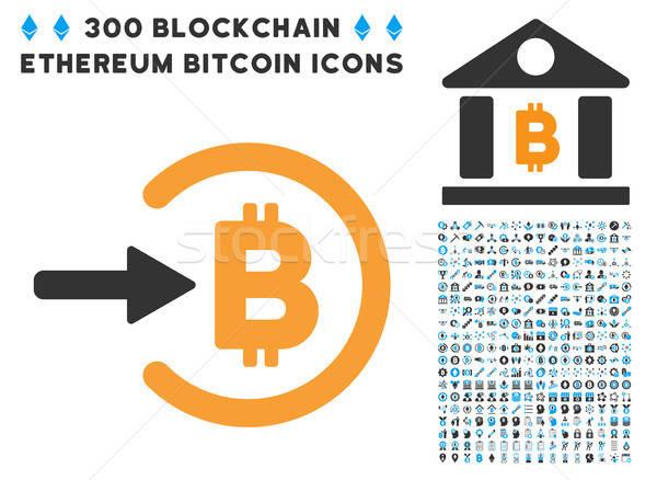 Bitcoin jövedelem ikon okos szerződés terv Stock fotó © ahasoft