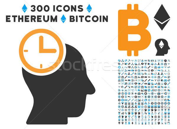 Tempo pensare testa icona bitcoin Smart Foto d'archivio © ahasoft