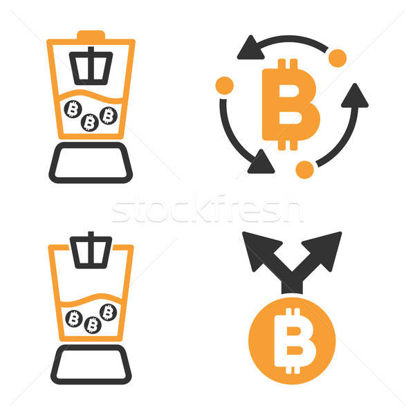 Bitcoin Mixer Vector Icon Set Stock photo © ahasoft