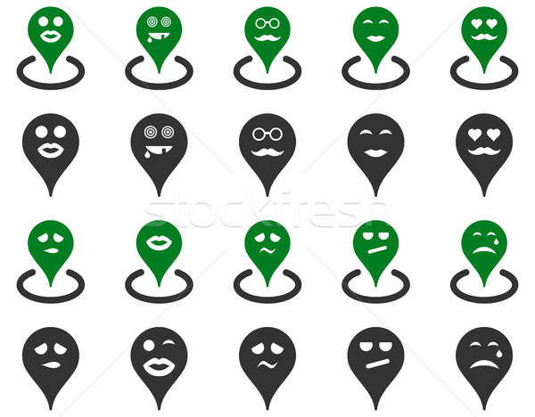 Karte Marker Symbole Set Stil Bilder Stock foto © ahasoft