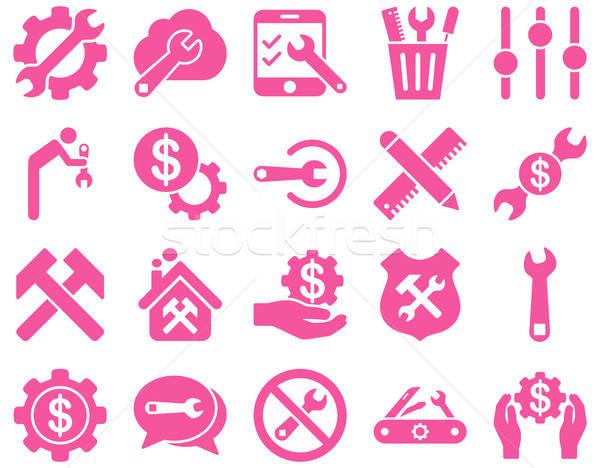 Stock fotó: Beállítások · szerszámok · ikonok · vektor · szett · stílus