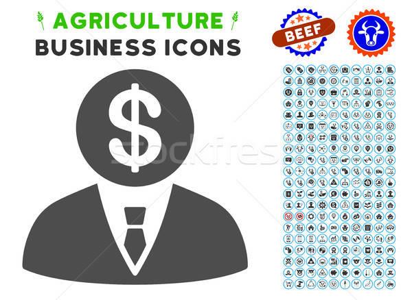 Bankár ikon mezőgazdaság szett szürke kereskedelmi Stock fotó © ahasoft