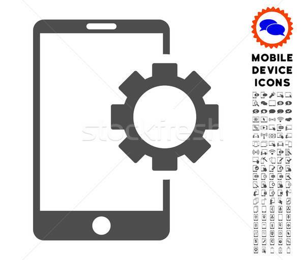 Telefon viselet ikon gyűjtemény ikon okostelefon piktogram Stock fotó © ahasoft