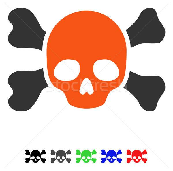 Koponya csontok ikon vektor színes szín Stock fotó © ahasoft