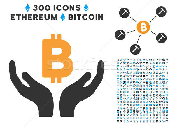 Bitcoin Maintenance Hands Flat Icon with Collection Stock photo © ahasoft