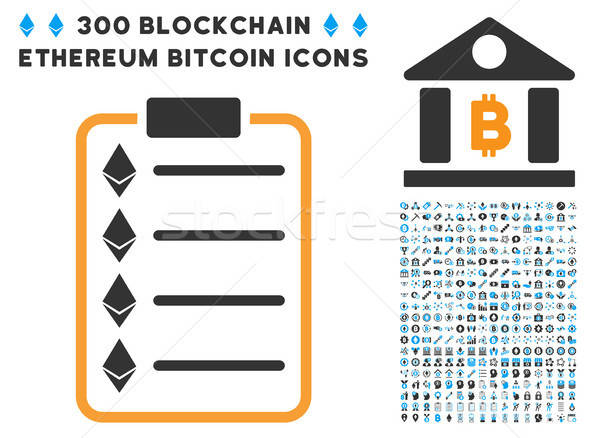 Ethereum List Pad Flat Icon with Set Stock photo © ahasoft
