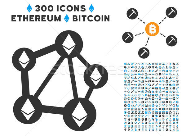 Ethereum Network Flat Icon with Clip Art Stock photo © ahasoft