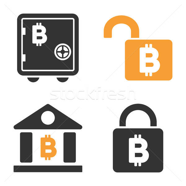 Bitcoin Storage Lock Vector Icon Set Stock photo © ahasoft