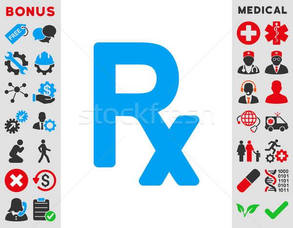 Prescrição símbolo ícone vetor estilo azul Foto stock © ahasoft
