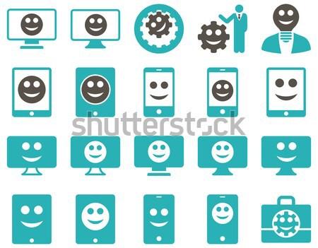 Szerszámok sebességváltó mosoly ikonok szett stílus Stock fotó © ahasoft