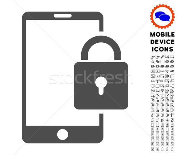 Blokady smartphone ikona stylu Zdjęcia stock © ahasoft