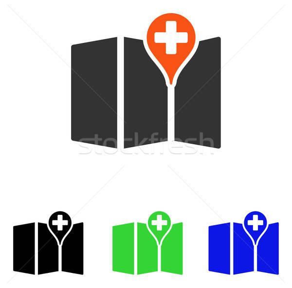 Médicos mapa vector icono ilustración estilo Foto stock © ahasoft