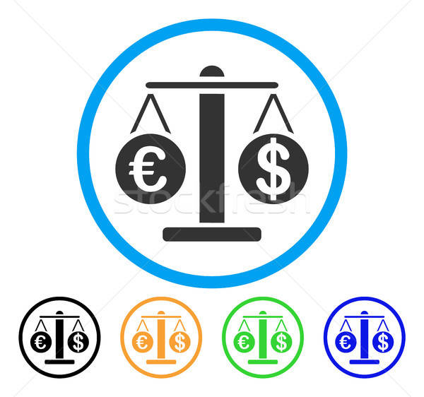 Euro And Dollar Scales Rounded Icon Stock photo © ahasoft