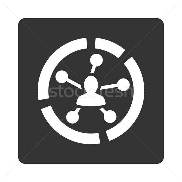 Ilişkileri diyagram ikon stil beyaz gri Stok fotoğraf © ahasoft