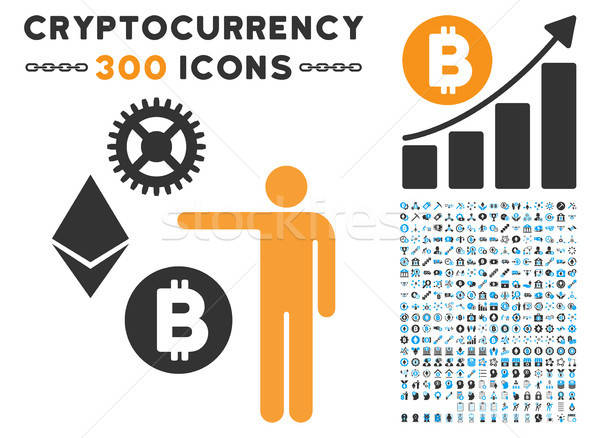 Person Show Cryptocurrency Flat Icon with Set Stock photo © ahasoft